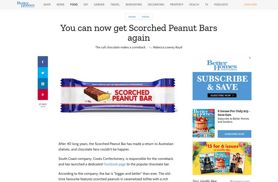 Better Homes - Scorched Peanut Bar Media Release Article