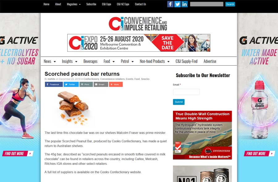 CIR - Scorched Peanut Bar Media Release Article