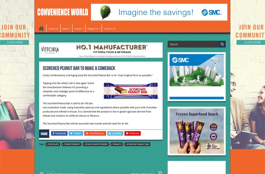 Convenience World - Scorched Peanut Bar Media Release Article