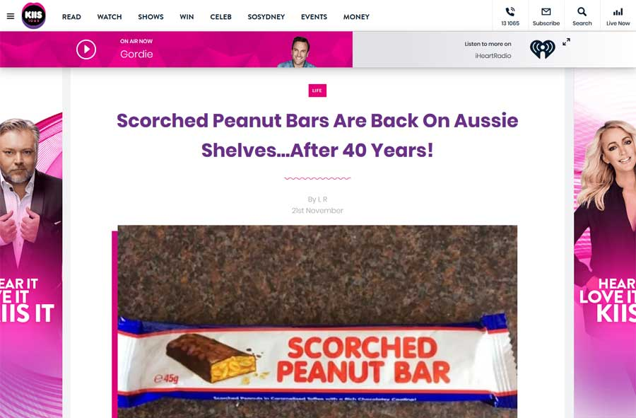 KIIS - Scorched Peanut Bar Media Release Article