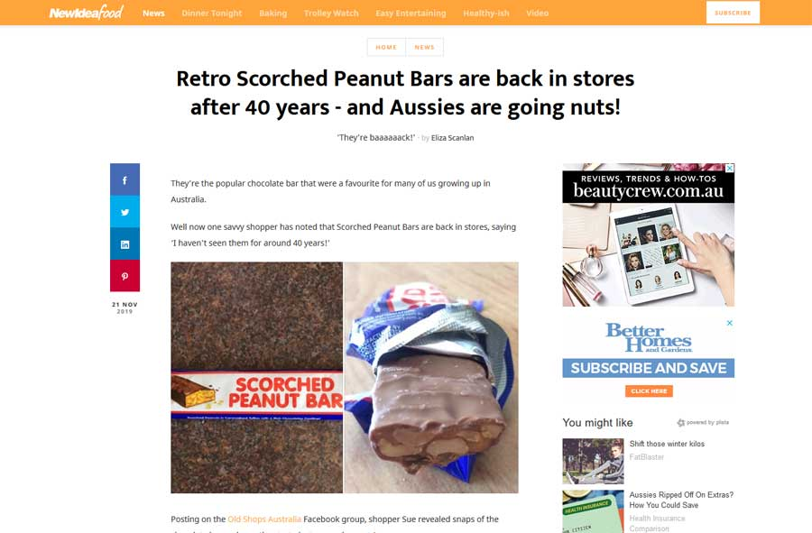 New Idea Food - Scorched Peanut Bar Media Release Article