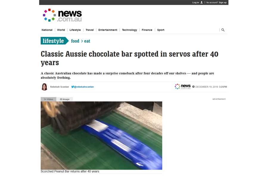 News.com.au - Scorched Peanut Bar Media Release Article