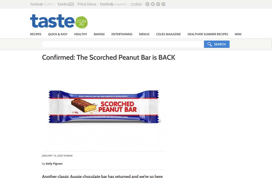 Taste.com.au - Scorched Peanut Bar Media Release Article