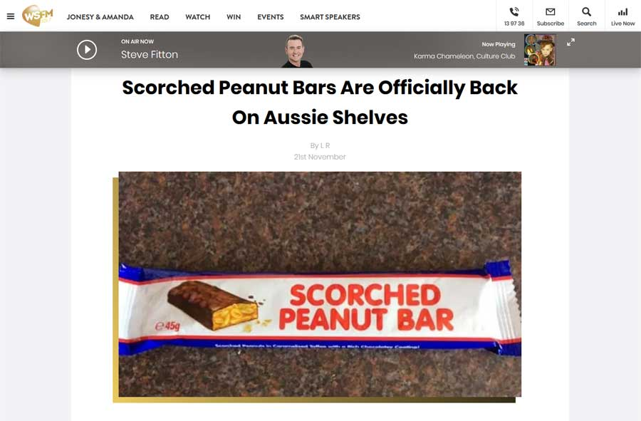 WSFM - Scorched Peanut Bar Media Release Article